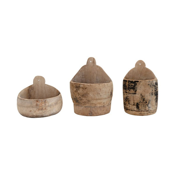 Found Wood Wall Half Pot! Each One Will Vary!