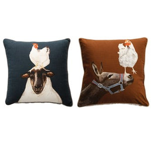 "20"" Square Cotton Pillow with Farm Animals, 2 Styles"