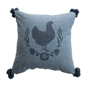 Pillow with chicken, pom poms