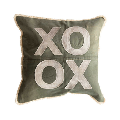 "Green & Natural Color Square Recycled Cotton Canvas Pillow w/ Applique ""XO"" & Eyelash Fringe"