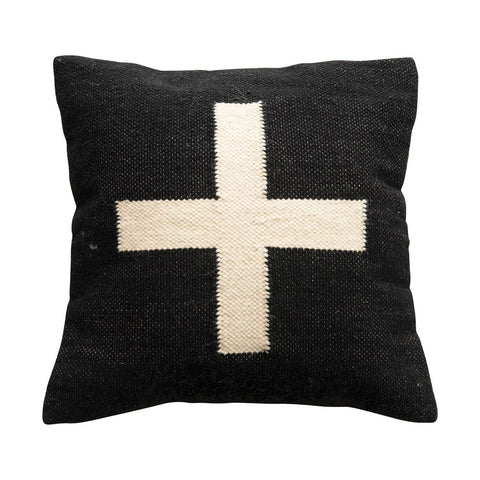 Black & Cream Color Square Wool Blend Pillow w/ Swiss Cross