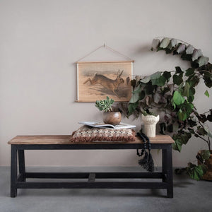 Natural & Black Reclaimed Wood Bench! PICK UP ONLY!
