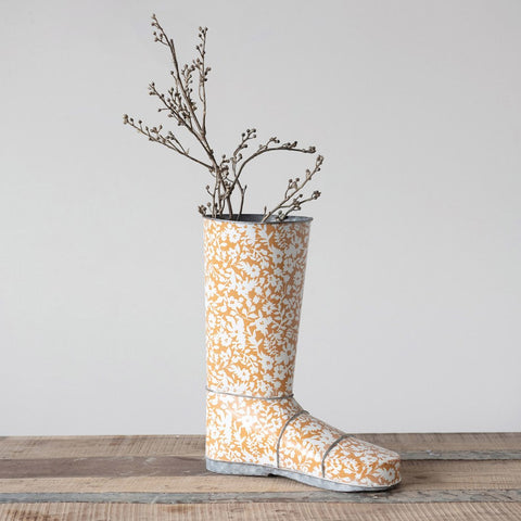 Mustard Color Decorative Metal Garden Boot w/ Floral Pattern