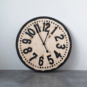 "36"" Natural & Black Round Wood Laser Cut Wall Clock! PICK UP ONLY!"
