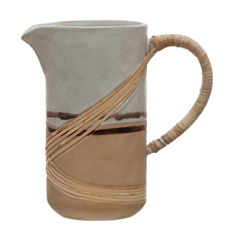 36 oz. Reactive Glaze White & Brown Stoneware Pitcher w/ Rattan Wrapped Handle (Each Varies)