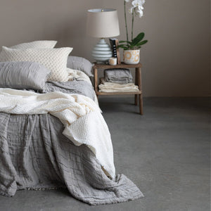 King Cotton Stitched Bed Cover w/ 2 Patterned King Shams