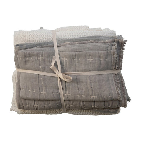 King Cotton Waffle Weave Bed Cover w/ 2 Stitched King Shams