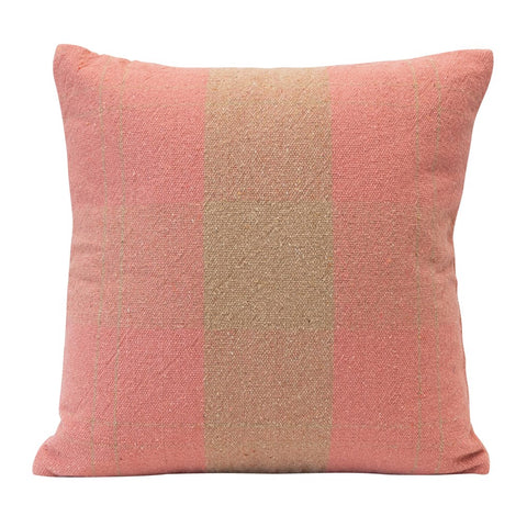 Pink & Tan Woven Recycled Cotton Blend Plaid Pillow