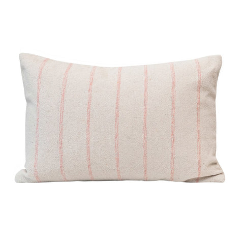 Pink & Cream Woven Recycled Cotton Blend Lumbar Pillow w/ Stripes