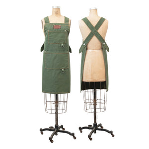 Green Cotton Canvas Cross Back Apron w/ Pockets and Rivets