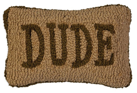 Dude Hooked Wool Pillow
