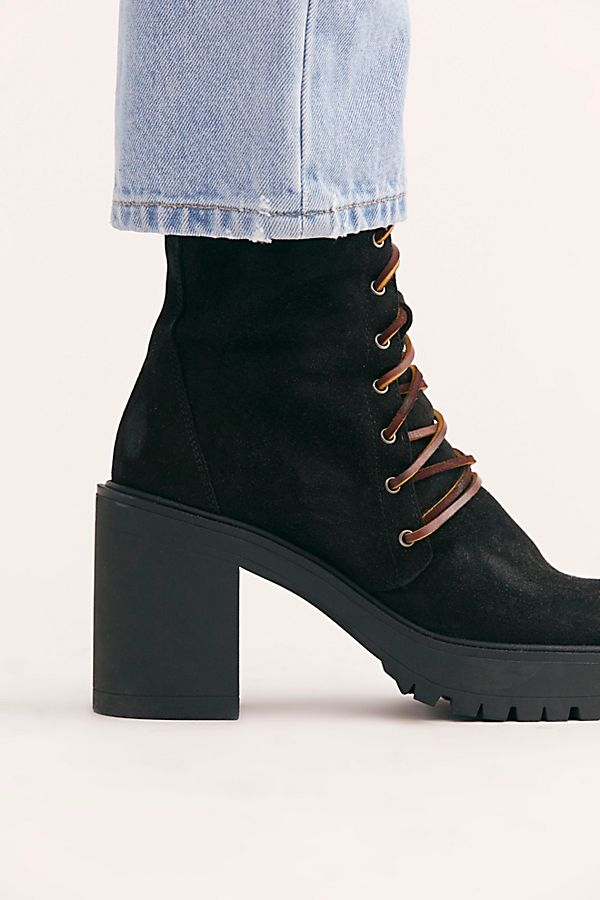 Free People Dylan Lace-Up Suede Brown Boots Chunky Platform Hiker Heels 37 6.5