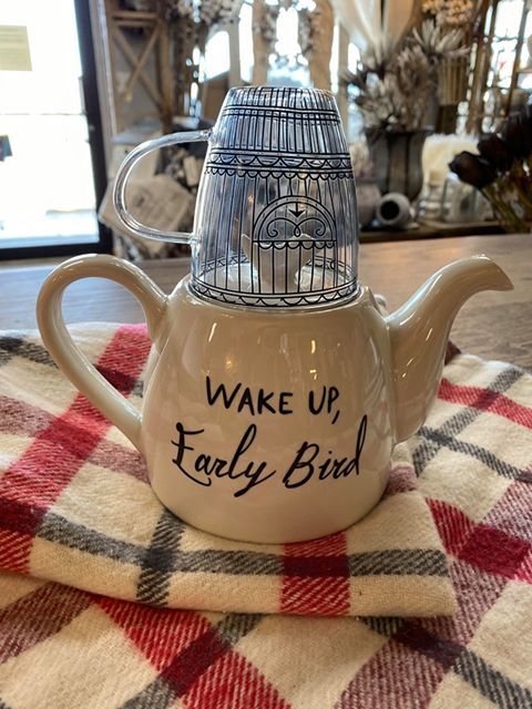 """Wake Up, Early Bird"" Teapot with Glass Mug"