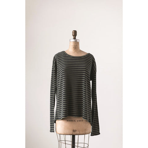 Charcoal w/ Olive Green Stripe Cotton Waffle Riley Tee w/ Cross Back