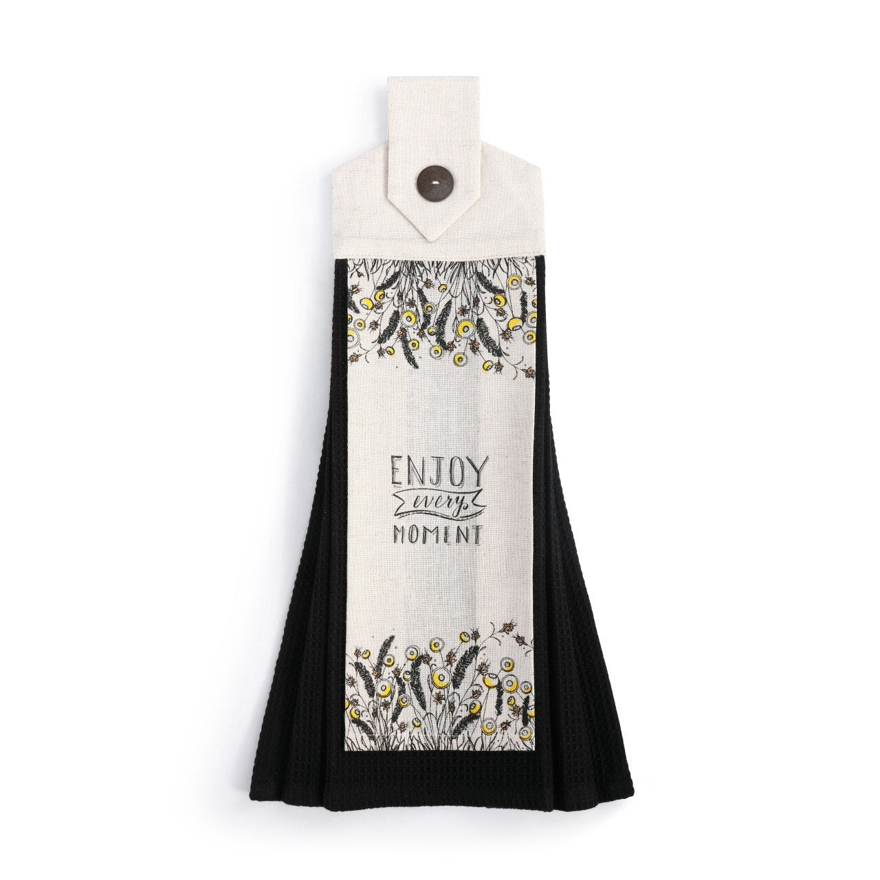 Enjoy Every Moment Button Loop Tea Towel