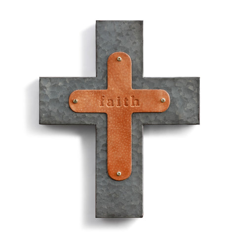 Faith Wall Cross Genuine Leather Galvanized Metal!!!