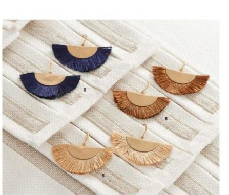 Earth Tone Fan Tassel Earrings! THREE COLORS!