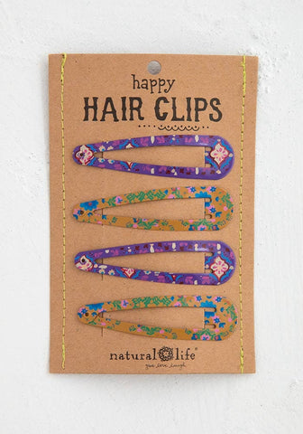 Natural Life Purple Mustard Happy Hair Clips