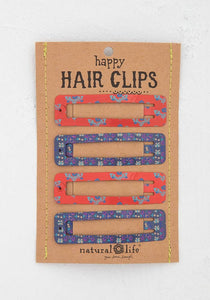 Natural Life Red Purple Happy Hair Clips