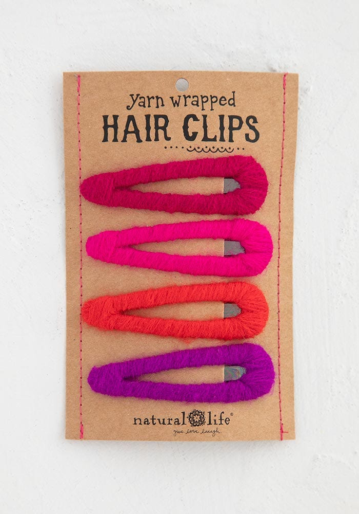 Natural Life Pink Yarn Wrapped Happy Hair Clips