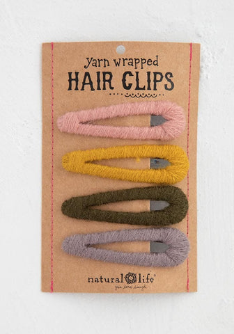 Natural Life Neutral Yarn Wrapped Happy Hair Clips