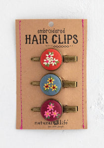 Natural Life Pink Embroidered Hair Clip Set
