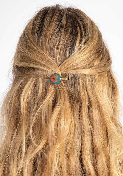 Natural Life Yellow Embroidered Hair Clip Set