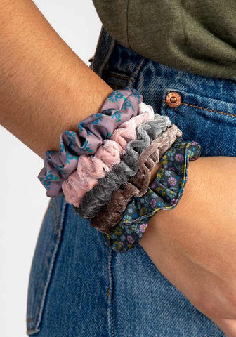 Natural Life Grey Skinny Printed and Velvet Scrunchies