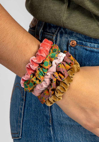 Natural Life Pink Skinny Printed and Velvet Scrunchies