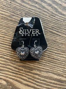 Silver Strike Heart Earrings