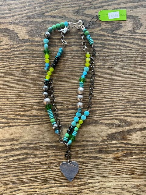 Gypsy Soule Blue Green Heart Necklace