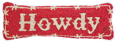 Howdy Hooked Wool Pillow