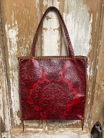 KurtMen Red Damask Tall Wide Box Tote with Turquoise Stones