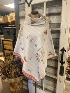 "Rhonda Stark Designs White Indian Dreams 30"" Button Collar Poncho!!!"