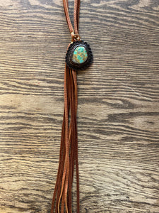 "J. Forks 14754 26"" Turquoise/ Leather Bolo"