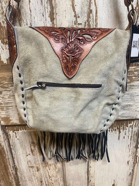 American Darling Tooled Leather and Grey Suede Bag
