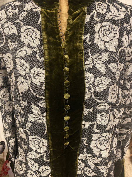 Devotion Black & Green Velvet Button Dress