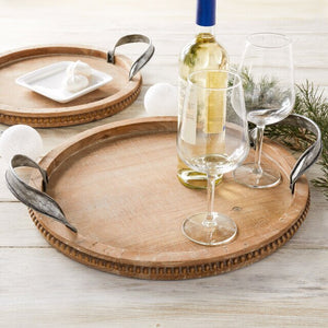 Large Round Wooden Tray with Serving Handles