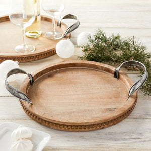 Small Round Wooden Tray with Serving Handles