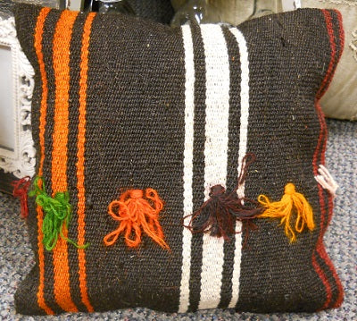 Kilim Vintage Anatolian Black and Orange Fringed Pillow!!!