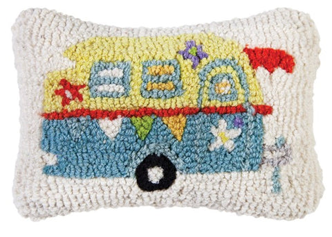 Lil' Camper Glamper Hooked Wool Pillow