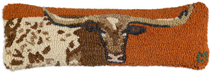 Longhorn Hooked Wool Pillow