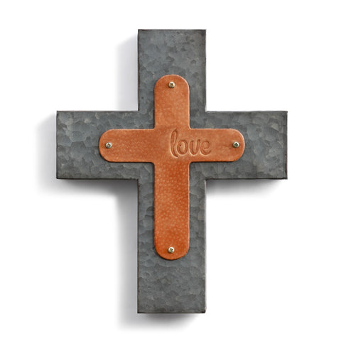 Love Wall Cross Genuine Leather Galvanized Metal!!!