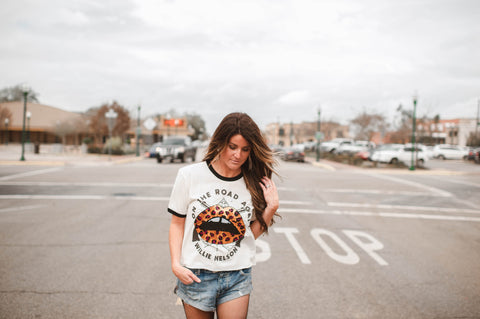 "Gina Tees ""On the Road Again Willie"" Ringer Cropped Tee!!!"