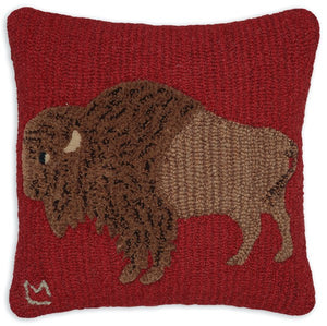 Plush Buffalo Hooked Wool Pillow