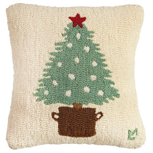 Sundance Potted Tree Hooked Wool Pillow