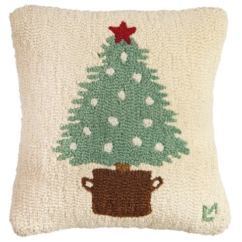 Potted Tree Hooked Wool Pillow