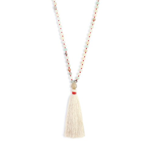 Red Threads Necklace with Cream Tassel and Beads!!!