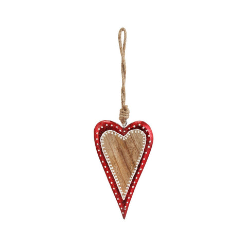 Red Foil Wood Heart Ornament