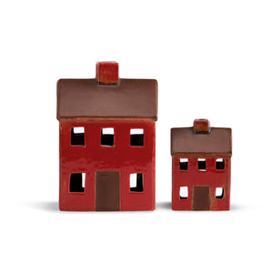 Red Ceramic House Lanterns - Set of 2 for Candles